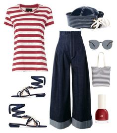 """""""Navy Blue Jeans"""" by im-karla-with-a-k on Polyvore featuring Jacquemus, RtA, Tory Burch, BAGGU, Karen Walker and Prada"""
