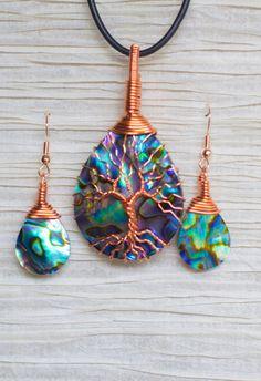 Baum des Lebens Kupfer Draht gewickelt, Abalone-Anhänger und Ohrringe-matching                                                                                                                                                                                 Mehr