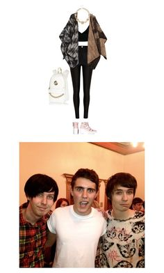 Filming with Alfie, Dan and Phil by c-ookie on Polyvore featuring Dark Pink, Missoni, River Island and Topshop