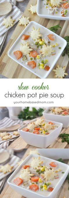 Slow Cooker Chicken Pot Pie Soup is the perfect way to let your slow cooker do the work and enjoy some comfort food in a delicious bowl of soup!