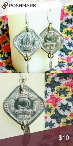 Earrings Cute diamond shaped 1963 India coin earrings Jewelry Earrings
