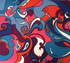 On Hold  60s Fabric Vintage Psychedelic Swirly by voguevintage