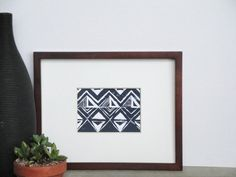 FREE SHIPPING Fun Abstract Aztec Tribal Inspired Pattern Linocut Art Print / 5 x 7 Home Decor / Dark Navy Blue, Lt Blue, Taupe, Turquoise