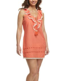 Coral Ruffle Andrea Cover-Up - Women