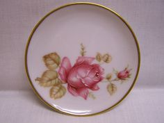 Limoge Butter Pat Plate Pink Rose by VeeTeesVintage on Etsy, $5.00
