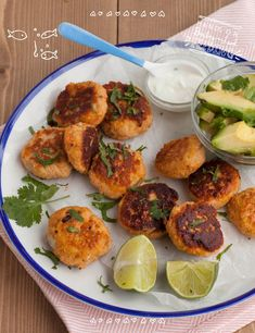 Baby led weaning fish cakes with avocado and mint yogurt dip. This is a perfect baby lunch recipe packed with Omega-3 rich fish and full of vitamins. Lunch ideas for baby led weaning. BLW lunch recipes.