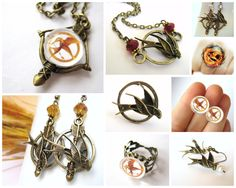 Unique, handmade Hunger Games Jewelry available only at http://www.SpotLightJewelry.com Use coupon code PINTEREST for 20% off you order!