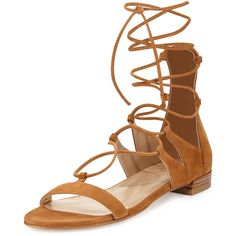 Stuart Weitzman Tie-Up Suede Gladiator Sandal (€295) ❤ liked on Polyvore featuring shoes, sandals, flat sandals, flats, camel, t-strap flats, suede gladiator sandals, flat gladiator sandals, strappy flat sandals and strappy gladiator sandals