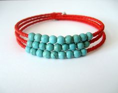 Turquoise and Red Bead Memory Wire Bracelet - by 2favouritegirls on madeit