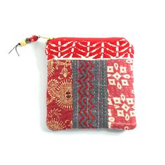 kantha pouch, patchwork purse, jewellery purse, coin purse, makeup purse