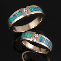 Australian Opal and Diamond Ring Set