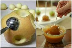mini caramel apples - Greta for Halloween Pot-luck or Kid's Party. Would even be cute mixed in with a spread of cake pops. Delicious Desserts, Dessert Recipes, Yummy Food, Dessert Ideas, Candy Apples, Caramel Apples, Snaks, Sweets, Fruit