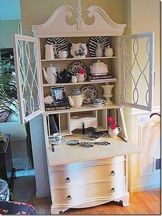 The Secretary Desk is The Perfect Small Office Space Solution l Dorm Furniture l Apartment Furniture l DIY l Small Office l Home Office l Organization Dorm Furniture, Apartment Furniture, Shabby Chic Furniture, Furniture Projects, Furniture Plans, Furniture Makeover, Painted Furniture, Hutch Makeover, Furniture Outlet