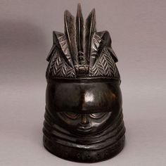 AFRICAN, MENDE SOWEI BUNDU SANDE SOCIETY HELMET MASK AFRICAN ART