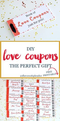 Free printable love coupons are the perfect DIY gift. Great for your husband or boyfriend on Valentine's Day, Anniversary, Birthday, or just because. Click... #giftsforhim #giftsforher #gifts #valentinesday #anniversary #giftguide #diy