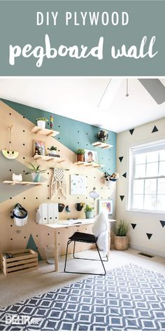 This modern kid's bedroom gets a whole new look thanks to this DIY plywood pegboard wall from Aniko, of Place of My Taste. Aniko paired the BEHR 2018 Color Trends shade Off The Grid with the BEHR 2018 Color of the Year In The Moment. This geometric wall mural brings a playful sense of style to the minimalist design of this room. Check out the full tutorial to learn more.