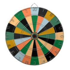 Green Gold and Orange Game Room Colors Dartboard With Darts