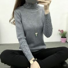 117a2d0942 Thickening Warm Knitting Sweaters And Pullovers For Women 2016 Autumn Winter  Casual Slim Elastic Turtleneck Knitwear
