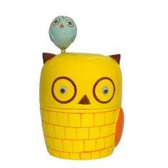 Give a Hoot OWL Jar W/lid Storage Retro Bath Decor Woodland Creature