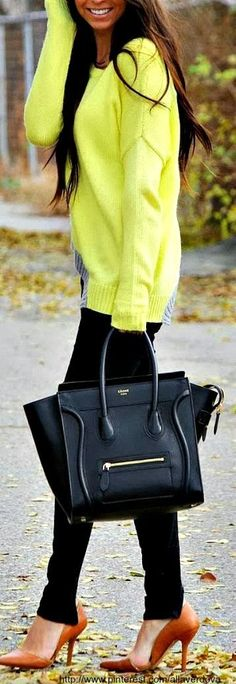 see more Modern Brown Shoes, Yellow Amazing Sweater, Black Trousers and Big Stylish Handbag, Fashion for Fall