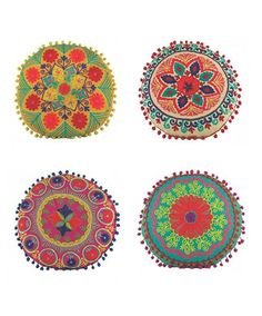 Karma Living Indian Embroidered Round Pillows - Decorative Pillows - Shop Nectar…