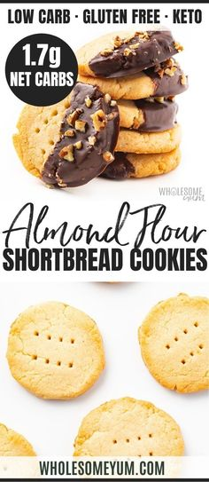 This buttery keto shortbread cookies recipe with almond flour has just 4 ingredients & net carb each! Low carb almond flour cookies taste just like real shortbread. No one can tell they're gluten-free shortbread cookies. Keto Cookies, Gluten Free Shortbread Cookies, Almond Flour Cookies, Almond Flour Recipes, Coconut Flour, Desserts With Almond Flour, Chip Cookies, Almond Flour Muffins, Vanilla Cookies