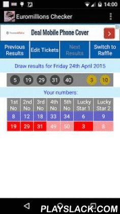 Euromillions Checker  Android App - playslack.com ,  If you play the same numbers on the Euromillions Lottery each week or even if you use different numbers each week this app will check them for you.It allows you to store as many or as few tickets as you like.Touch the ticket to find out how much you've won.Touch the line containing that week's winning numbers to get the prize fund breakdown.You can also store your UK Millionaire Raffle numbers. These will be checked when you switch to the…