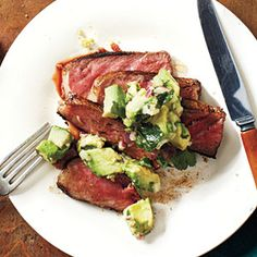 Ready in just 26 minutes, this strip steak topped with avocado-lime salsa is an ideal way to add a unique twist to a weeknight steak dinner.View Recipe: Spice-Rubbed New York Strip with Avocado-Lime Salsa Healthy Menu, Healthy Eating, Healthy Recipes, Healthy Cooking, Delicious Recipes, Tasty, Citrus Recipes, Pork Recipes, Recipies