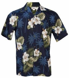 Hibiscus Floral - Mens Hawaiian Aloha Shirt - Navy  What the groom's men and best man are wearing