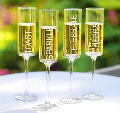 These Contemporary Champagne Flutes are perfect for ringing in the New Year or for toasting the holidays.#theweddingoutlet