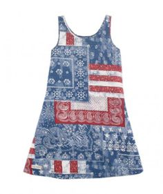 In a nod to Old Glory, this cotton jersey dress has an interesting red, white, and blue patchwork detail with bandana and stripe prints. The Americana look can be dressed up or down with shoes and accessories.