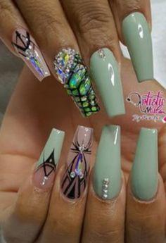 # Nails Glam Nails, Fancy Nails, Beauty Nails, Green Nail Art, Green Nails, Coffin Nails, Acrylic Nails, Casual Nails, Toe Polish
