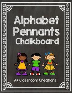 Alphabet Pennants:  Chalkboard