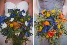 Blue and orange wedding bouquets