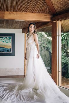 We're in love with this bride's lace and tulle overlay gown | Image by Magical Flute Photo and Video Bridal Portraits, Bridal Style, Wedding Blog, Overlays, Paradise, Tulle, Gowns, Bride, Elegant