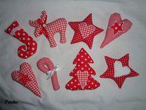 8er Set Weihnachtsdeko in rot-weiß