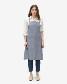 OFS. Linen Apron - Navy Chambray | Old Faithful Shop