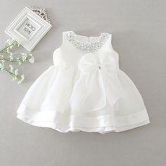 Bebé Niñas Vestido Vestido de Bautizo Blanco Satinado 3-6 6-12 meses y sombrero largo