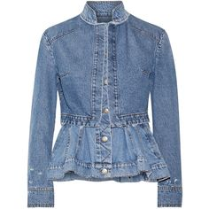 Alexander McQueen Layered denim peplum jacket (€1.575) ❤ liked on Polyvore featuring outerwear and jackets