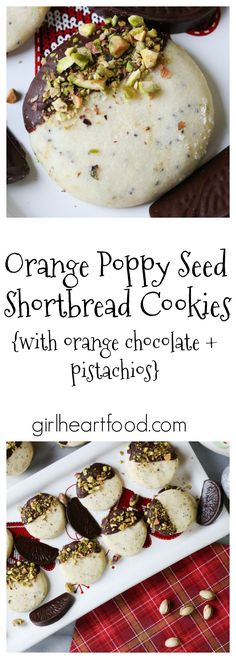 Buttery Orange Poppy Seed Shortbread Cookies are dipped in orange chocolate and sprinkled with pistachios - perfect for the holidays! Best Cookie Recipes, Baking Recipes, Dessert Recipes, Baking Ideas, Sweet Recipes, Yummy Recipes, Delicious Desserts, Yummy Food, Orange Poppy