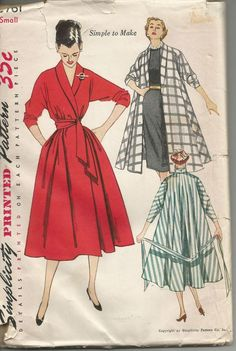1951 SIMPLICITY 3761 EZ SHAWL COLLAR COAT, DRESS, ROBE PATTERN sz S 12-14 UNCUT