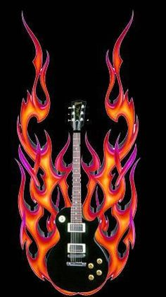 Free Guitar Screensavers And Wallpaper Guitar On Fire