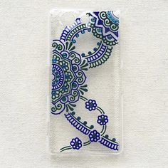 Sony Xperia Z4 Compact Case clear Hand Painted iPhone 6s plus iPhone 6 Samsung Galaxy S5 Case Note 3 Art Henna Mandala mehndi Hand Drawn (22.90 USD) by SnowHennaArt