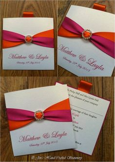 Fuchsia pink and orange Wallet Wedding Invitation  www.jenshandcraftedstationery.co.uk www.facebook.com/jenshandcraftedstationery