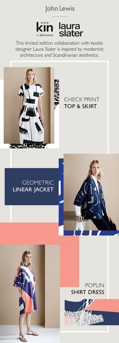 Inspired by modernist architecture and Scandinavian aesthetics, discover the limited edition Kin collection, designed in collaboration with textile designer Laura Slater. Each print design has an individual focus or feel that works together as a whole across the Laura Slater collection. Perfect for adding a Scandi and eclectic feel to your wardrobe.