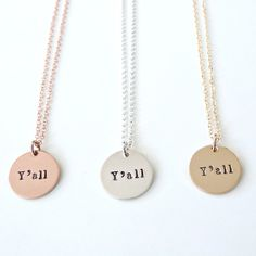 Y'all Necklace by Vintage Stamp Jewels