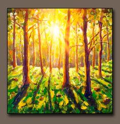 Buy painting Sunny forest landscape - original painting for sale by Rybakow Forest Landscape, City Landscape, Landscape Paintings, Bright Paintings, Buy Paintings, Oil Painting Flowers, Artist Painting, Original Paintings For Sale, Painting Wallpaper