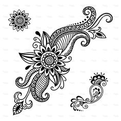 Find Set of Mehndi flower pattern for Henna drawing and tattoo. Decoration in ethnic oriental, Indian style. Stock Images in HD and millions of other royalty-free stock photos, illustrations, and vectors in the Shutterstock collection. Henna Designs On Paper, Simple Mehndi Designs, Beautiful Henna Designs, Flor Henna, Henna Mandala, Lace Tattoo Design, Henna Tattoo Designs, Henna Patterns, Flower Patterns