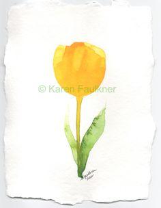 Yellow Tulip original watercolor painting 6x8 by karenfaulknerart, $20.00