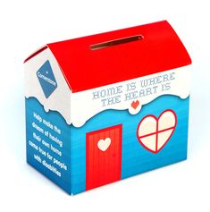 """This could be painted or covered with decorative paper to make a cute """"house"""" Tzedakah Box. Printed House Home Collecting Box Tzedakah Box, Jewish Crafts, Decorative Paper, Cute House, Family Organizer, Donate To Charity, Money Box, Diy Box, Summer Crafts"""